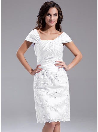 Charmeuse Sleeveless Mother of the Bride Dresses Off-the-Shoulder Sheath/Column Ruffle Beading Sequins Knee-Length