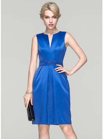 Sheath/Column Satin Sleeveless Knee-Length Ruffle Beading Sequins Cocktail Dresses
