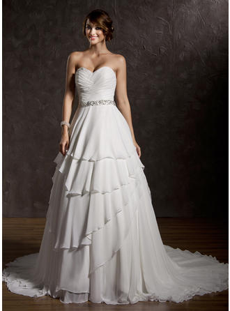 Chic Court Train Sweetheart Ball-Gown Chiffon Wedding Dresses