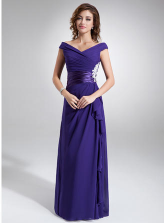A-Line/Princess Off-the-Shoulder Chiffon Luxurious Mother of the Bride Dresses