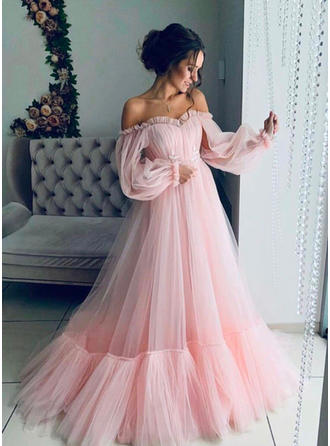 Simple Tulle Prom Dresses A-Line/Princess Sweep Train Off-the-Shoulder Long Sleeves