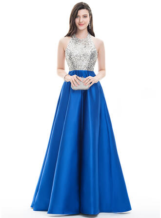 A-Line/Princess Halter Floor-Length Satin Prom Dresses With Beading
