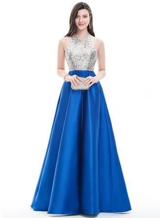 A-Line/Princess Halter Floor-Length Satin Prom Dresses With Beading