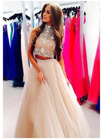 Ball-Gown High Neck Floor-Length Chiffon Prom Dress With Beading