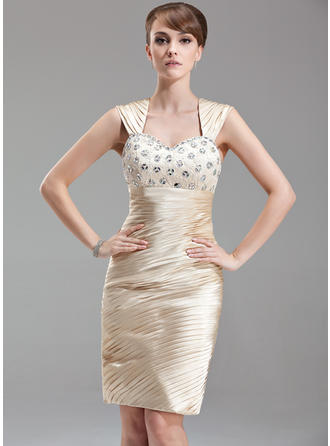 Sheath/Column Sweetheart Knee-Length Mother of the Bride Dresses With Ruffle Beading