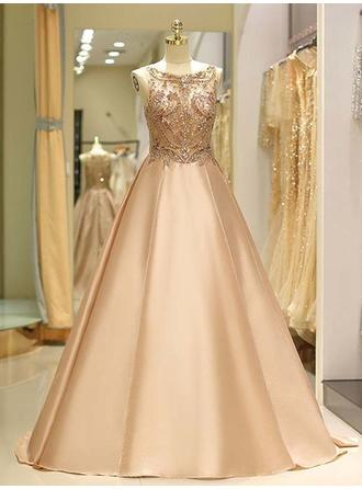 Satin Sleeveless Ball-Gown Prom Dresses Scoop Neck Beading Sweep Train