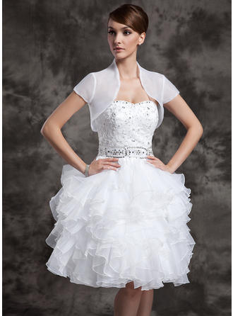 Modern Knee-Length A-Line/Princess Wedding Dresses Sweetheart Satin Organza Sleeveless