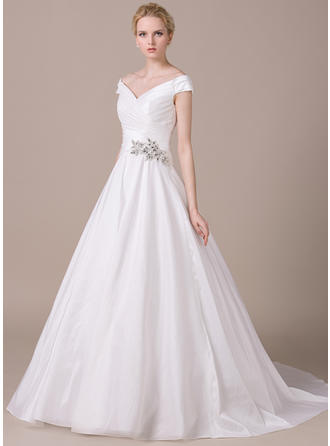 Sweetheart Chapel Train Ball-Gown Wedding Dresses Off-The-Shoulder Taffeta Sleeveless