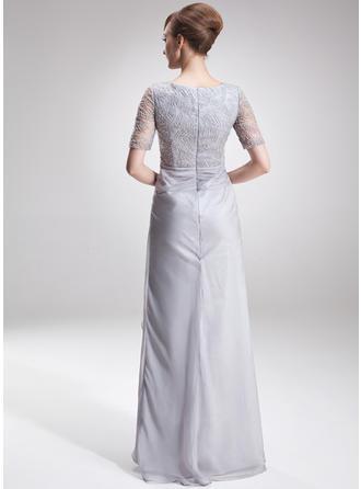 A-Linie/Princess-Linie U-Ausschnitt Chiffon Spitze 1/2 Ärmel Asymmetrisch Schlitz Vorn Gestufte Rüschen Kleider für die Brautmutter (008005621)