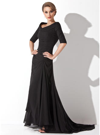 A-Line/Princess V-neck Chiffon 1/2 Sleeves Asymmetrical Ruffle Evening Dresses