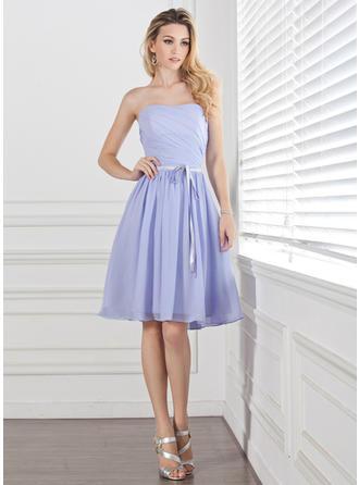 A-Line/Princess Sweetheart Knee-Length Bridesmaid Dresses With Ruffle Sash
