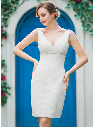 Lace Sheath/Column Simple Beading Wedding Dresses