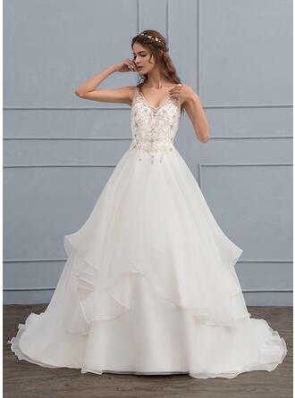 Balklänning V-ringning Court släp Organzapåse Bröllopsklänning med Beading Paljetter