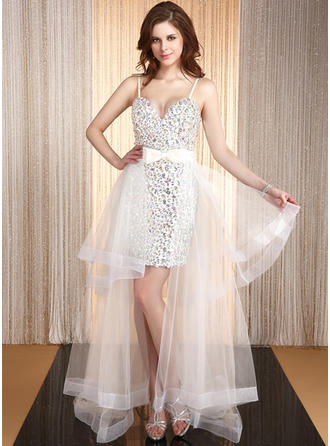 A-Line/Princess Satin Organza Prom Dresses Gorgeous Asymmetrical Sweetheart Sleeveless