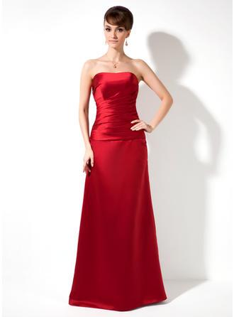 A-Line/Princess Strapless Floor-Length Satin Bridesmaid Dress With Ruffle