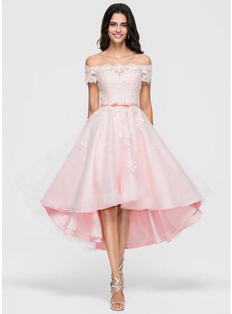 A-Line Off-the-Shoulder Asymmetrical Organza Cocktail Dress