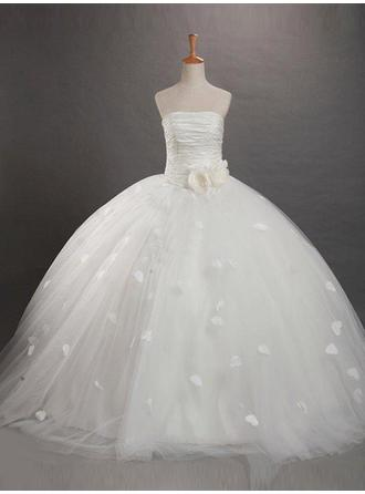 Chic Sweep Train Ball Gown Flower Girl Dresses Strapless Tulle Sleeveless