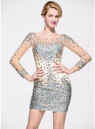 Sheath/Column Scoop Neck Satin Tulle Long Sleeves Short/Mini Beading Cocktail Dresses