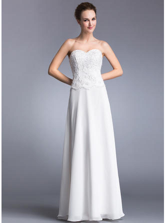 Chiffon Sleeveless A-Line/Princess Prom Dresses Sweetheart Lace Beading Sequins Floor-Length
