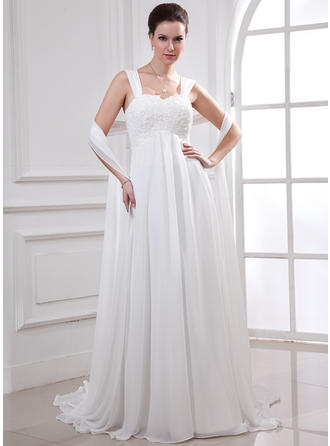 Court Train Sleeveless Empire - Chiffon Wedding Dresses