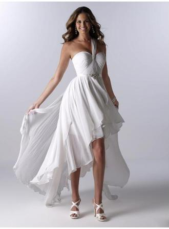 A-Line/Princess One Shoulder Asymmetrical Wedding Dresses With Ruffle Sash Beading