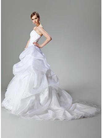 a line wedding dresses strapless