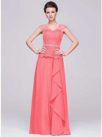 A-Line/Princess Chiffon Fashion V-neck Mother of the Bride Dresses