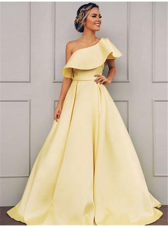 A-Line/Princess Satin Prom Dresses Glamorous Sweep Train One-Shoulder Short Sleeves