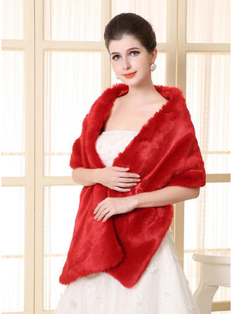 Wrap Wedding Faux Fur Ivory Red Wraps