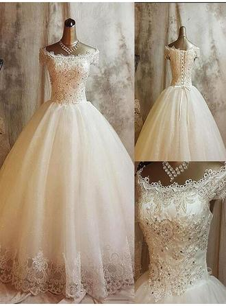 Ball-Gown Off-The-Shoulder Sweep Train Wedding Dress With Lace Beading Appliques Lace Sequins