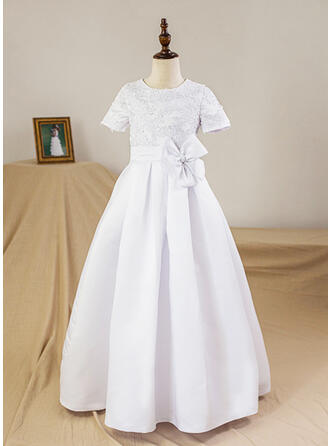 A-Line/Princess Floor-length Flower Girl Dress - Satin Short Sleeves Scoop Neck With Flower(s)