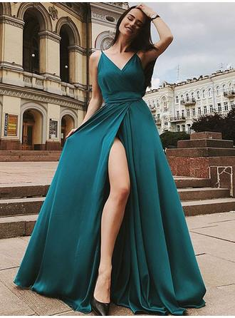 A-Line/Princess Satin Chiffon Prom Dresses Modern Sweep Train V-neck Sleeveless