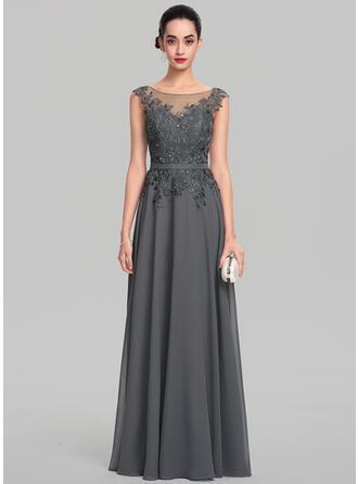 A-Line/Princess Scoop Neck Floor-Length Chiffon Evening Dress With Beading Sequins