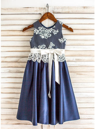 A-Line/Princess Scoop Neck Tea-length With Sash Satin/Lace Flower Girl Dresses