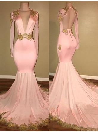 Trumpet/Mermaid Satin Prom Dresses Appliques Lace V-neck Long Sleeves Sweep Train