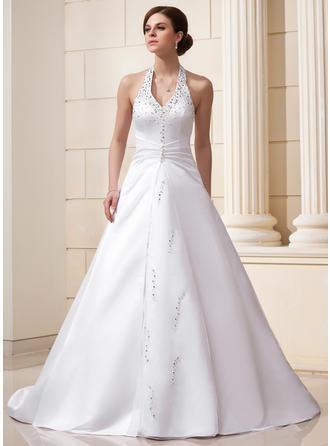 A-Line/Princess Halter Chapel Train Satin Wedding Dress With Ruffle Beading Sequins