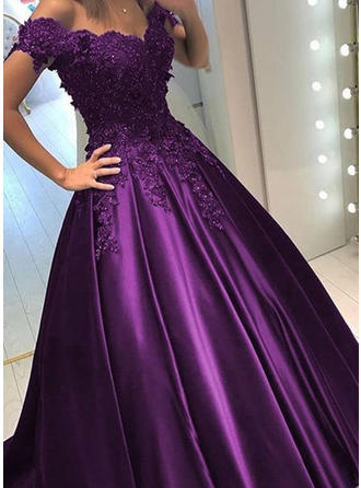 Newest Satin Evening Dresses Ball-Gown Sweep Train Off-the-Shoulder Sleeveless