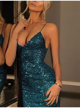 Sheath/Column Sequins Homecoming Dresses V-neck Sleeveless Short/Mini