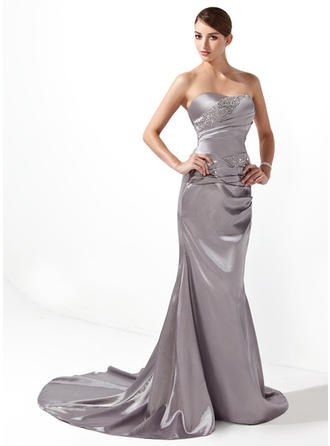 Trumpet/Mermaid Sweetheart Court Train Charmeuse Prom Dress With Ruffle Beading