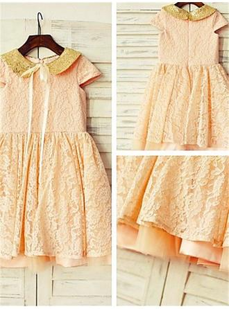 Peter Pan Collar A-Line/Princess Flower Girl Dresses Lace Sequins Sleeveless Knee-length