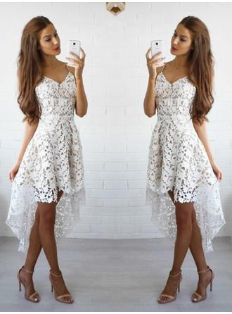A-Line/Princess V-neck Off-the-Shoulder Asymmetrical Lace Cocktail Dress (016145268)