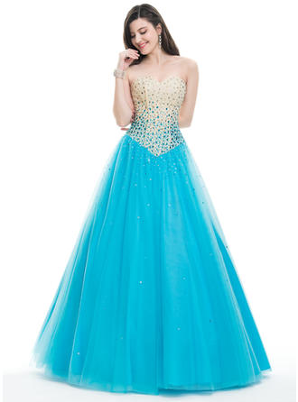 Tulle Beading Sequins Strapless Sleeveless Prom Dresses