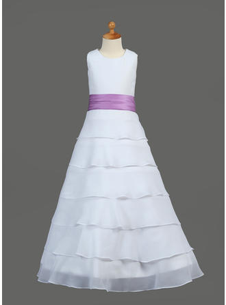 Scoop Neck A-Line/Princess Flower Girl Dresses Chiffon/Charmeuse Ruffles/Sash/Flower(s) Sleeveless Floor-length