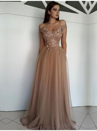 A-Line/Princess Princess Floor-Length Off-the-Shoulder Sleeveless