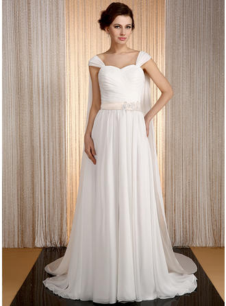 A-Line/Princess Sweetheart Watteau Train Chiffon Wedding Dress With Sash Beading Appliques Lace