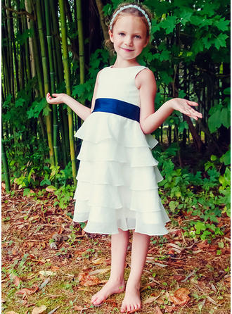 A-Line/Princess Tea-length Flower Girl Dress - Chiffon Sleeveless Scoop Neck With Ruffles/Sash