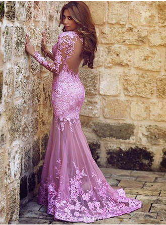 Luxurious Tulle Prom Dresses Trumpet/Mermaid Sweep Train Scoop Neck Long Sleeves