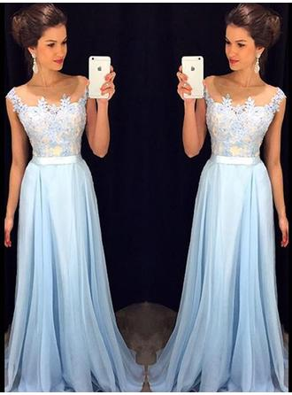 A-Line/Princess Scoop Neck Chiffon Sleeveless Floor-Length Evening Dresses
