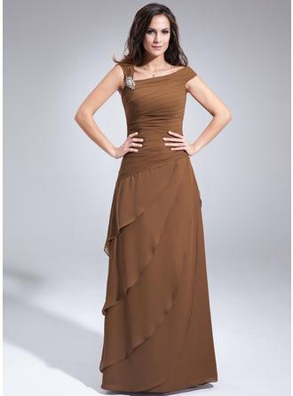A-Linie/Princess-Linie Off-the-Schulter Chiffon Ärmellos Bodenlang Perlstickerei Gestufte Rüschen Kleider für die Brautmutter