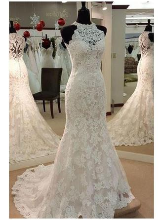 Sheath/Column Scoop Court Train Wedding Dress With Beading  ...